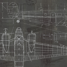 Canvas-taulu - Plane Blueprint 2
