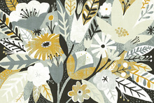 Wall mural - Vintage Bouquet Yellow