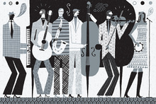 Canvas print - The Band Black and White