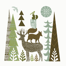 Canvas print - Forest Folklore Green Animals 1