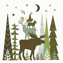 Wall mural - Forest Folklore Green Animals 2