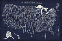 Canvas print - Hand Lettered US Map Blueprint