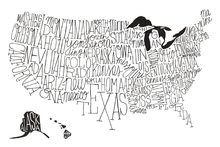 Canvas-taulu - Hand Lettered US Map BW