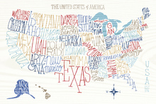 Canvas-taulu - Hand Lettered US Map Colors
