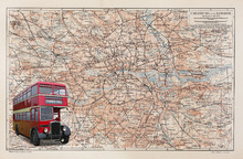 Wall mural - London Map with Bus