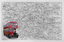 Canvas print - London Map with Bus - Colorsplash