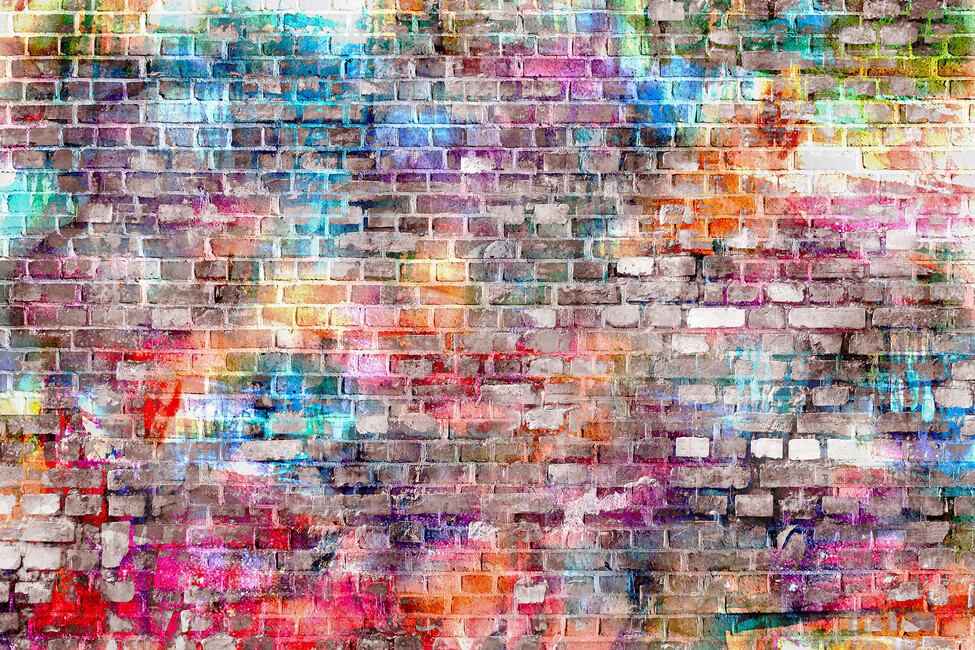 Urban art bricks wall mural photo wallpaper photowall for Colourful wallpaper for walls