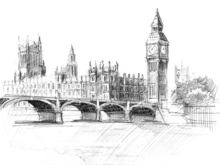Canvas print - Big Ben in Black Lead