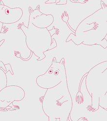 Wallpaper - Moomin - Light Grey & Pink