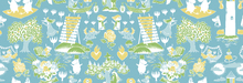 Wallpaper - Moomin Retro Pattern - Blue & Green