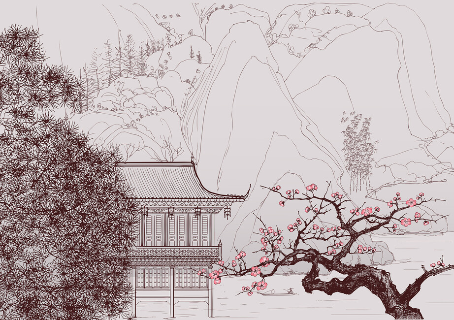 Japanese cherry blossom wall mural photo wallpaper for Asian wall mural