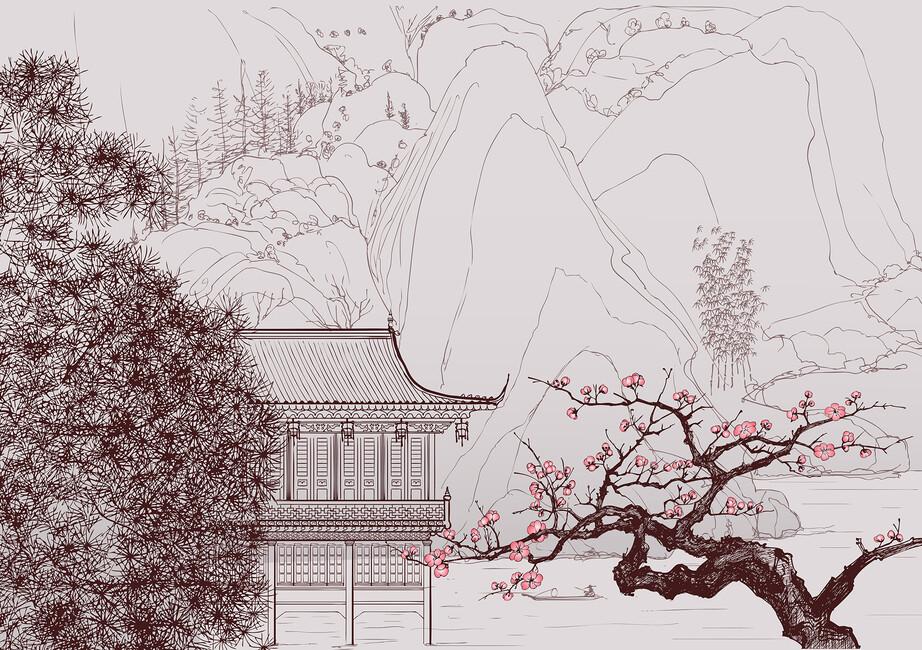 Japanese cherry blossom wall mural photo wallpaper for Cherry blossom mural