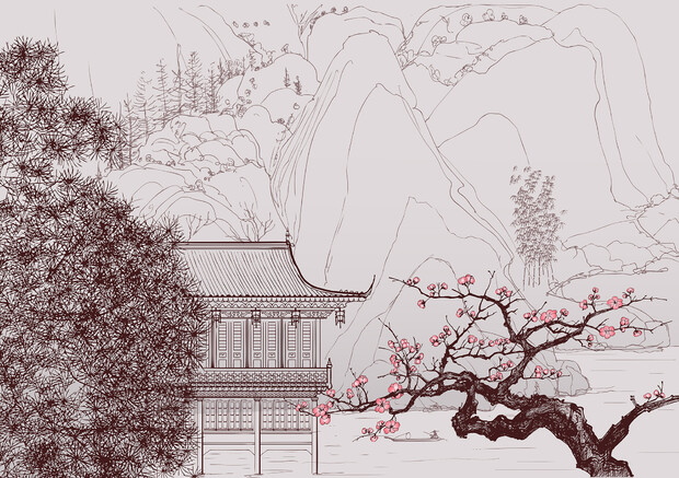 Japanese cherry blossom wall mural photo wallpaper for Cherry blossom wallpaper mural