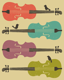 Wall Mural - Birds on a Cello String