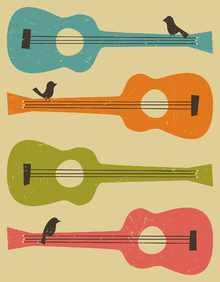 Wall Mural - Birds on a Guitar