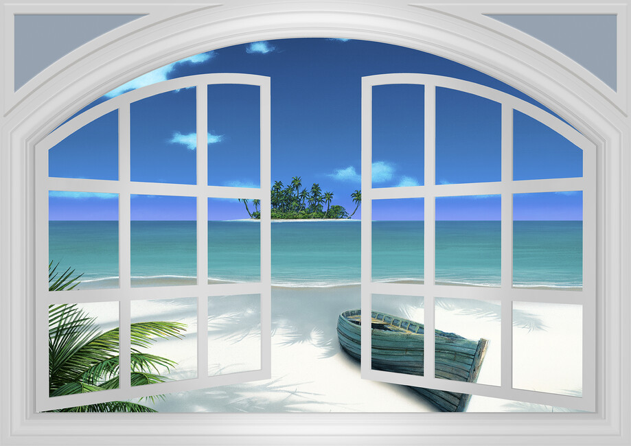 Beach view through window wall mural photo wallpaper for Beach view wall mural