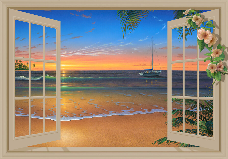 Sunset through window with flowers wall mural photo for Beach sunset wall mural
