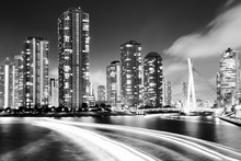 Fototapet - Black and White Image of Tokyo City at Night