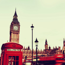 Fototapet - Telephone Booth and Big Ben