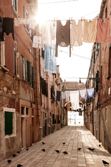 Canvas print - Street with Laundry Lines