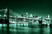 Canvas-taulu - Brooklyn Bridge - Green