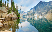 Canvas print - Mountain Lake with Mirror Reflection