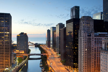 Fototapete - Beyond the Citylights in Chicago
