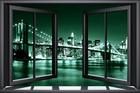 Wall mural - Brooklyn Bridge Through Window - Green