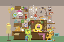 Wall Mural - Cheerful Claude and Bernard in Mellow Mart Store