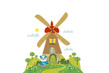 Wall mural - Rolos Beautiful Windmill Home
