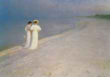 Canvastavla - Summer Evening on the Skagen Southern Beach with Anna Ancher and Marie Kroyer - Peder Severin Kroyer