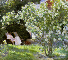 Canvastavla - The Artist's Wife in the Garden at Skagen - Peder Severin Kroyer