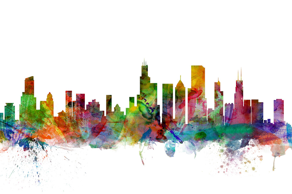 Chicago skyline wall mural photo wallpaper photowall for Chicago skyline mural wallpaper