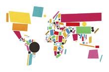 Wall mural - Abstract World Map Squares 2