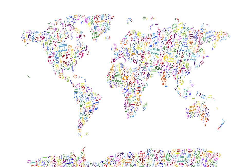 Music Notes World Map Color