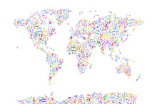 Fotobehang - Music Notes World Map Color