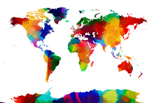 Wall Mural - Sponge Paint World Map
