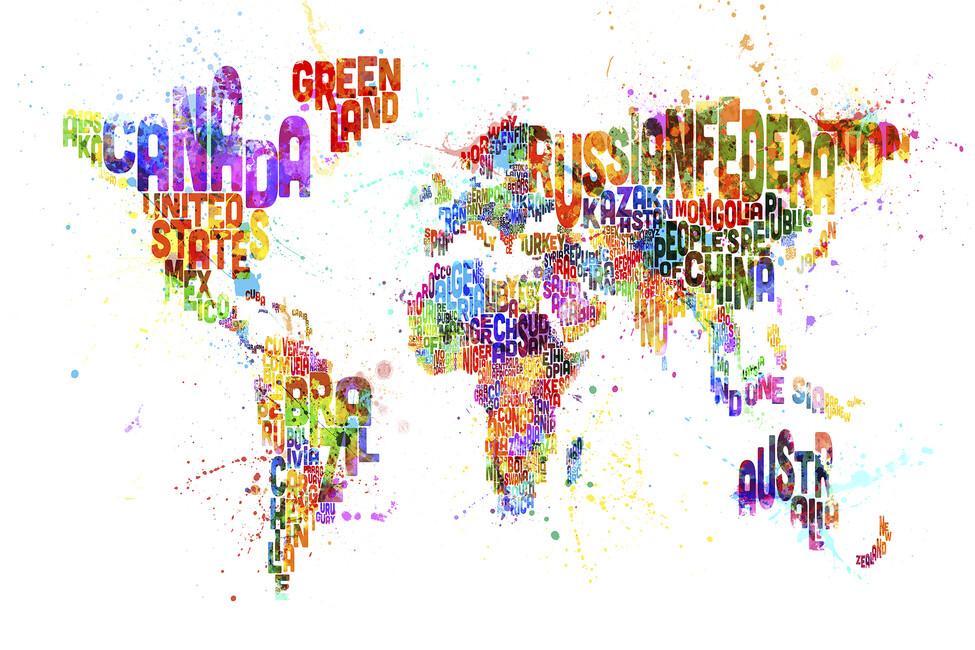 Typographic Text World Map Paint Splash - Tavlor på canvas ...