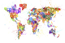 Fototapete - Typographic Text World Map Paint Splash