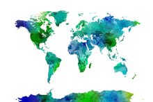 Fotobehang - Watercolor World Map Blue & Green