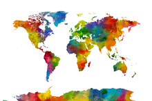 Wall mural - Watercolor World Map Multicolor 2