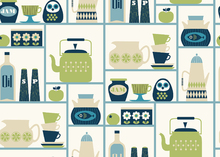 Wallpaper - Kitchen Shelves - Light Green