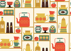 Wallpaper - Kitchen Shelves - Yellow