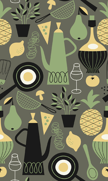 Wallpaper - Pineapple & Pear - Dark Grey