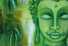 Canvas print - Buddha and Green Leaves