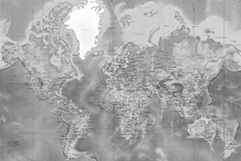 Fototapete - World Map Detailed - Grey