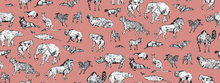 Tapete - Lots of Animals Pink