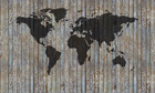 Lerretsbilde - World Map Wooden Plank - Old Silver