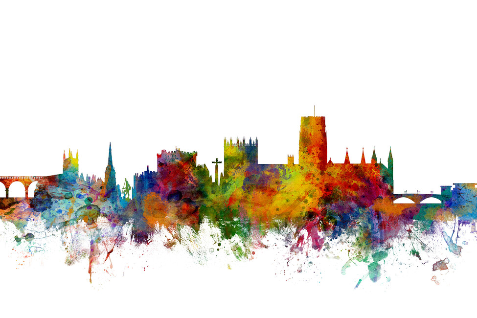 Durham england skyline cityscape wall mural photo for Cityscape wall mural