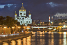 Wall mural - Illuminated Cathedral of Christ the Saviour